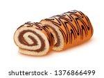 sponge cake roll isolated on... | Shutterstock . vector #1376866499