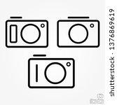 modern camera line icon set for ...