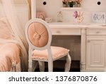 elegant soft stool with pink... | Shutterstock . vector #1376870876