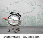 alarm clock in shopping cart ... | Shutterstock . vector #1376881586