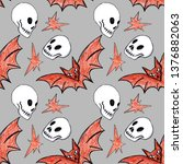 pattern with skulls  bats and... | Shutterstock . vector #1376882063