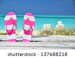 Flip Flops Against Ocean. Exum...