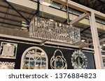 long chandelier made of crystal ... | Shutterstock . vector #1376884823
