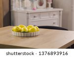 plate filled with fresh juicy... | Shutterstock . vector #1376893916