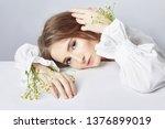 curly blonde romantic look ... | Shutterstock . vector #1376899019