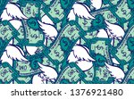 seamless pattern dollars with... | Shutterstock .eps vector #1376921480