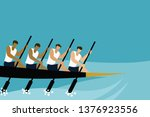 rowing action of a team in the... | Shutterstock .eps vector #1376923556