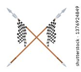 two spears with flagon a white... | Shutterstock .eps vector #1376924849