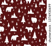 seamless pattern with bear in... | Shutterstock .eps vector #1376930699