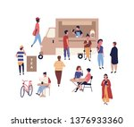 food truck and cute people... | Shutterstock .eps vector #1376933360