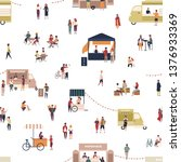 seamless pattern with people... | Shutterstock .eps vector #1376933369
