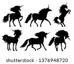 unicorn silhouettes. unicorns... | Shutterstock .eps vector #1376948720