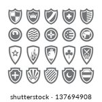 Abstract victorian arms on shields