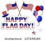 american flag day stickers.... | Shutterstock .eps vector #137698184