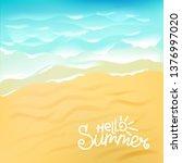 blue ocean wave on sandy beach... | Shutterstock .eps vector #1376997020