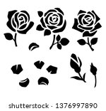 Stock vector set of decorative flower silhouette with bud and leaves for stencil design vector rose and petals 1376997890