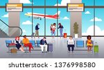 airport terminal. people travel ... | Shutterstock .eps vector #1376998580