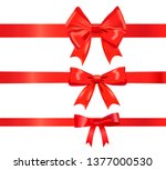 realistic different red ribbon... | Shutterstock .eps vector #1377000530