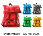 backpack 3d realistic bag set... | Shutterstock .eps vector #1377011036