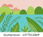 sunset landscape vector... | Shutterstock .eps vector #1377012869