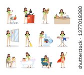 woman clean home and doing a... | Shutterstock .eps vector #1377018380