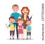 family portrait. father  mother ... | Shutterstock .eps vector #1377021866