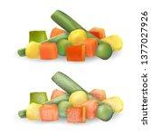 mixed chopped vegetables... | Shutterstock .eps vector #1377027926