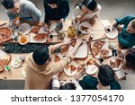 dinner among friends. top view... | Shutterstock . vector #1377054170