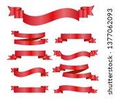red ribbons set. vector design...   Shutterstock .eps vector #1377062093