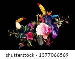 tropical bud flowers on black.... | Shutterstock .eps vector #1377066569