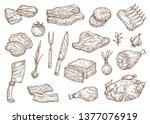 meat food sketch  butchery...   Shutterstock .eps vector #1377076919