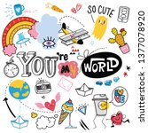 cute hand drawn doodle set with ... | Shutterstock .eps vector #1377078920