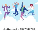 group of young people jumping... | Shutterstock .eps vector #1377082220