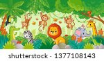 Stock vector african animals in the jungle cute cartoon animals set of animals 1377108143
