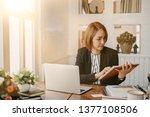 businesswomen checklist on...   Shutterstock . vector #1377108506