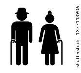 senior couple with walking cane.... | Shutterstock .eps vector #1377113906