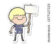 distressed sticker of a cartoon ... | Shutterstock . vector #1377127223