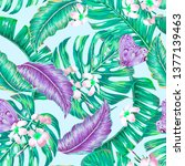 floral tropical seamless vector ... | Shutterstock .eps vector #1377139463