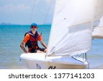 young man sailing. teenager boy ... | Shutterstock . vector #1377141203