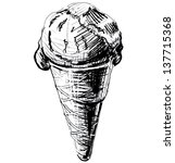 ice cream in a cone isolated on ... | Shutterstock . vector #137715368