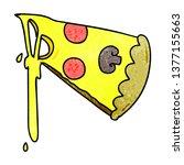 hand drawn quirky cartoon slice ... | Shutterstock . vector #1377155663