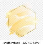 gold shiny glowing hexon frame...   Shutterstock .eps vector #1377176399
