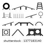 dog training equipment. puppy... | Shutterstock .eps vector #1377183140
