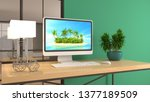 computer on office table. 3d... | Shutterstock . vector #1377189509