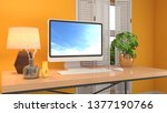 computer on office table. 3d... | Shutterstock . vector #1377190766