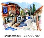 original watercolor painting on ... | Shutterstock .eps vector #137719700