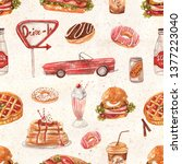 Seamless pattern with retro diner menu on textured vintage background. Burger, hot dog, soda, milkshakes, ice cream, berry pie, donuts, coffee