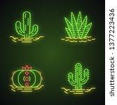 wild cactuses in ground neon... | Shutterstock .eps vector #1377223436