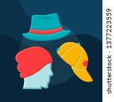 hats flat concept vector icon.... | Shutterstock .eps vector #1377223559
