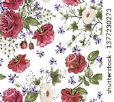 seamless pattern with flowers... | Shutterstock . vector #1377230273